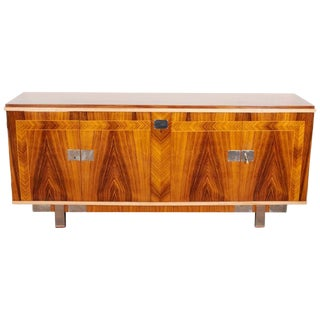 French Mid-Century Modern Palisander Cabinet With Blonde and Nickeled Accents For Sale
