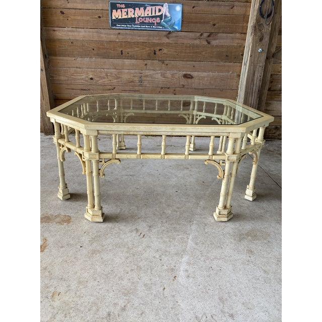 Vintage Faux Bamboo Fretwork Coffee Table For Sale - Image 13 of 13