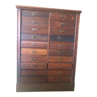 Antique Oak San Francisco City Tax Filing Cabinet