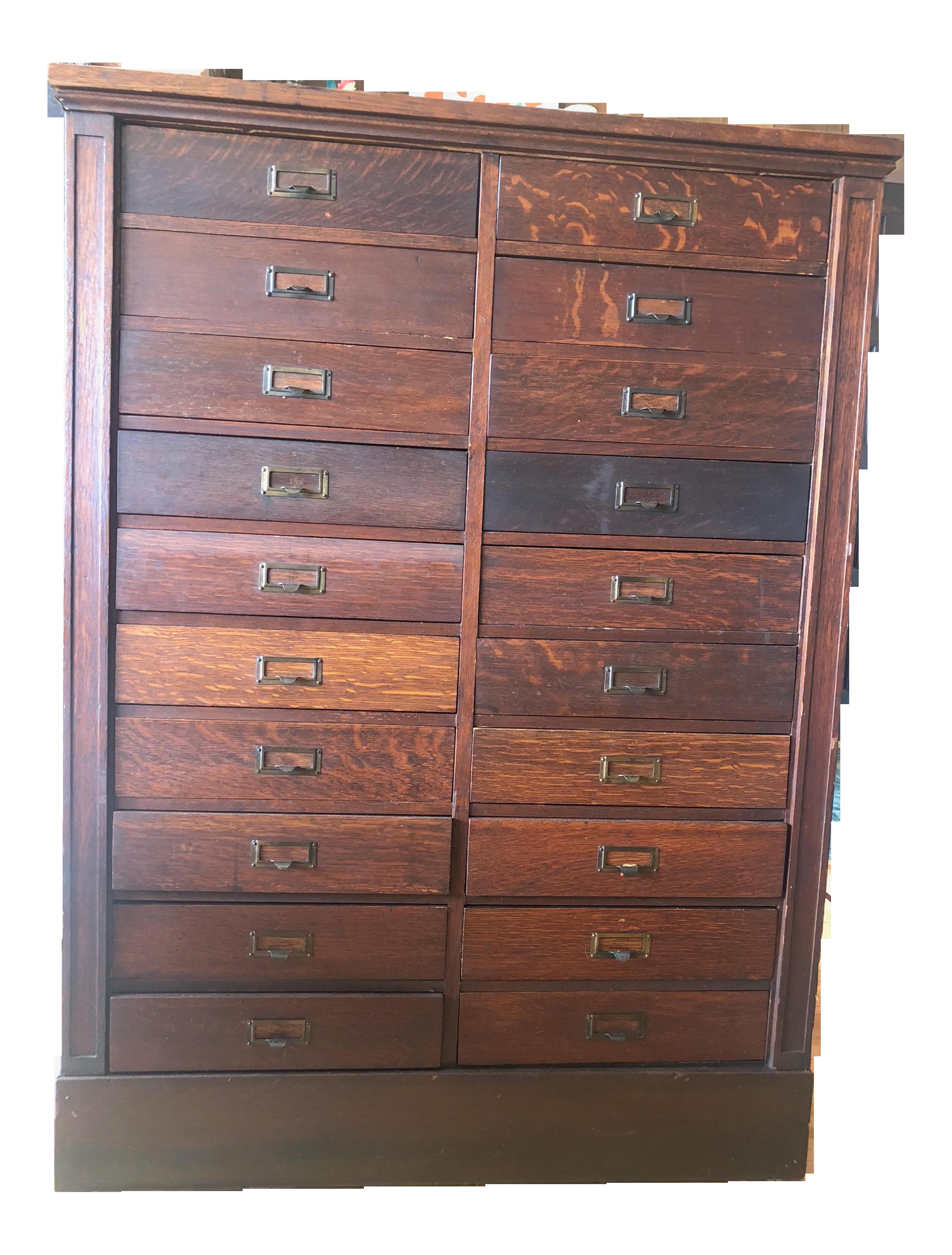 Antique Oak San Francisco City Tax Filing Cabinet