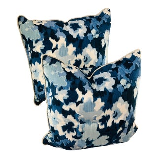 Robert Allen Abstract Pillows With Trim - a Pair For Sale
