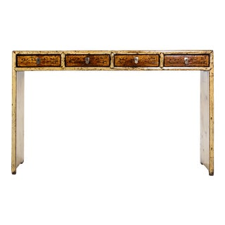 Chinese Pine and Elm Console Table With Four Drawers For Sale