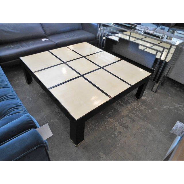 Garrison Rousseau Parchment & Bronze Wheeler Coffee Table - Image 2 of 7