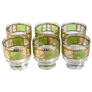 Green and Gold Culver Glasses - Set of 6