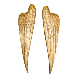 Hand Carved Gilt Angel Wings - a Pair For Sale