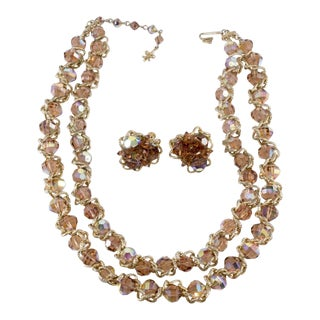 Vendome Necklace Earrings Set Vintage Mink Brown Crystal Beads and Gold Chain 1960s For Sale