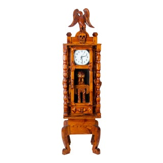 Carved Folk Art Tall Clock For Sale