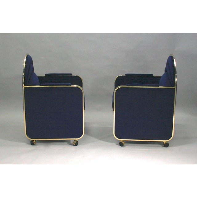 Pair of cube shaped club chairs made by Design Institute of America, circa late 1970s. Original DIA labels removed when...