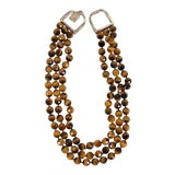 Image of John Agee Tiger Eye Bead and Sterling Silver Necklace For Sale
