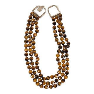 John Agee Tiger Eye Bead and Sterling Silver Necklace For Sale