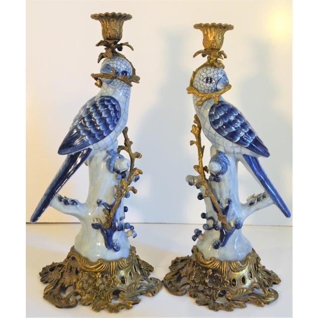 1980s (Final Markdown Taken) 1980s Blue and White Porcelain Ormolu Parrot Candlesticks - a Pair For Sale - Image 5 of 10