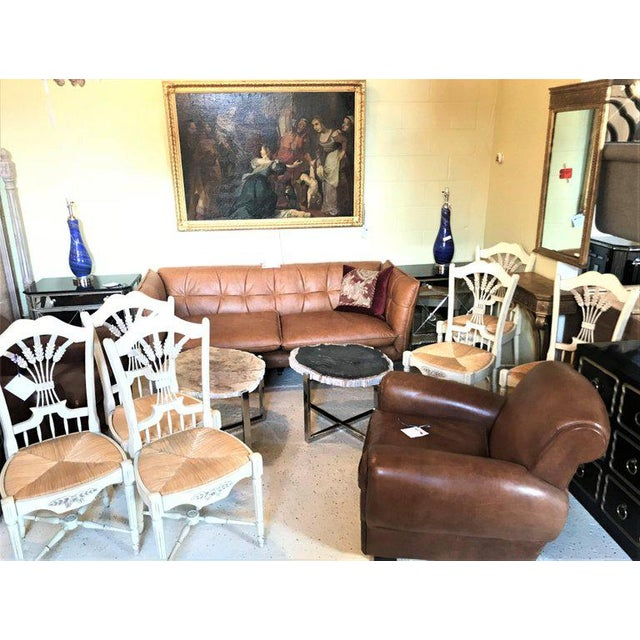 """Set of six distressed white painted """"Italian"""" rush seat side chairs finely carved. These custom quality dining or kitchen..."""
