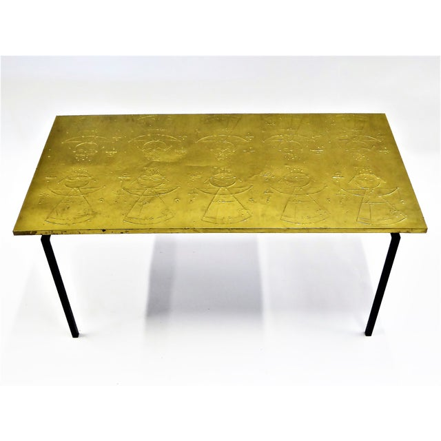 MidCentury Modern Raymor Scandinavian Repousse Brass Coffee Table 1960s For Sale - Image 13 of 13