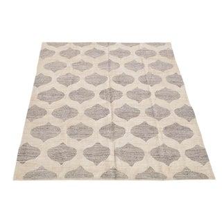 Modern Soft Geometric Turkish Wool Kilim Gray and Ivory- 7′10″ × 9′11″ For Sale