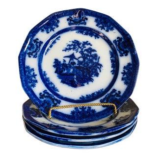 Antique 1850's Davenport Amoy Flo Blue Dinner Plates- Set of 4 For Sale