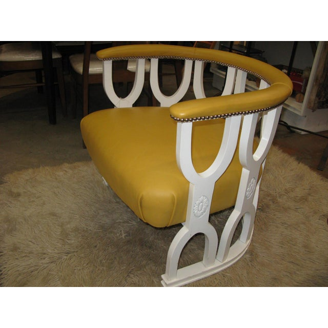 Fabulous Repurposed Vintage Leather Barrel Chair - Image 4 of 8