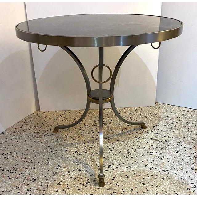 Maison Jansen Mid-Century Maison Jansen Attributed Louis XVI Style Gueridon Side Table in Steel, Brass and Verdigreen Marble For Sale - Image 4 of 13