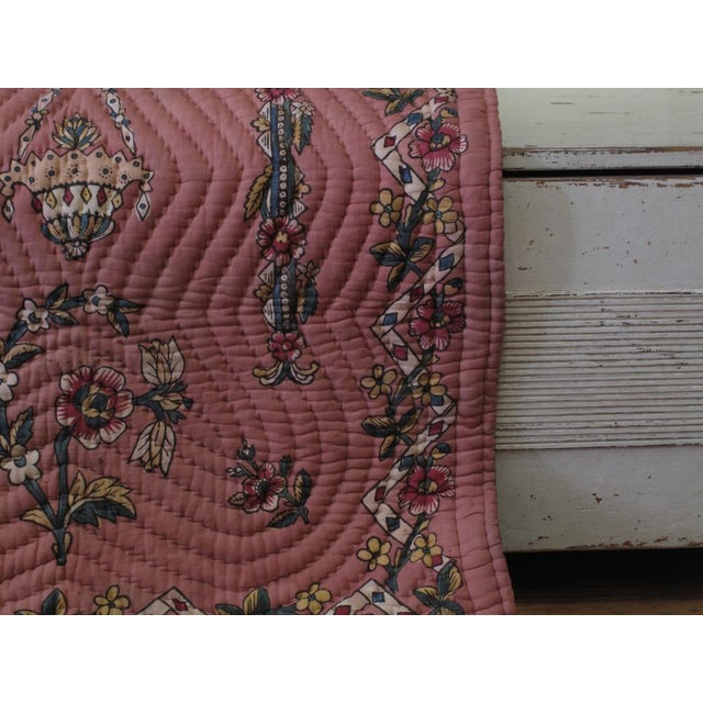 Fabric Quilted Prayer Rug For Sale - Image 7 of 10