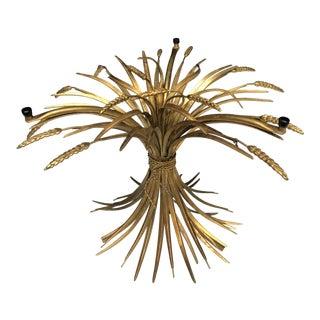 Hollywood Regency Italian Wheat Sheath Gold Gilt Table Base For Sale