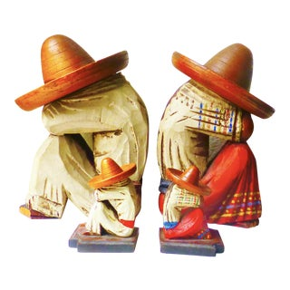 Vintage Wood Sleeping Señor & Señorita Bookends - Set of 4