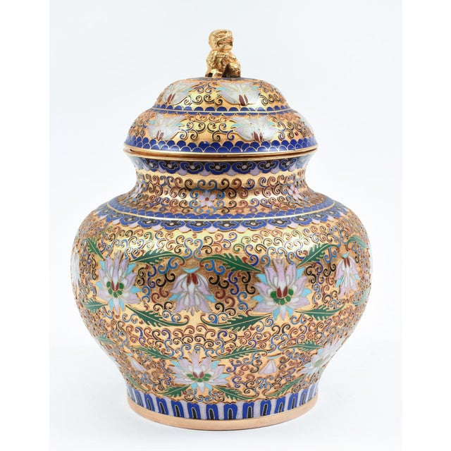 Covered Decorative Gilded Cloisonne Urn For Sale - Image 10 of 10
