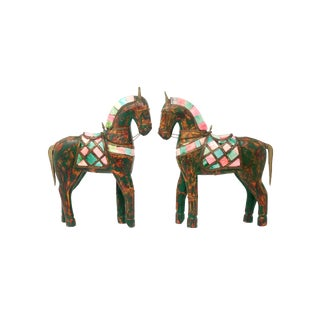 Vintage Handmade Wood and Brass Horses - a Pair