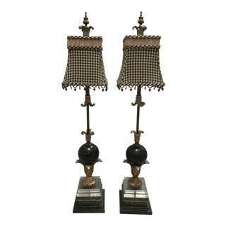 Black & Gold Table Lamps - A Pair