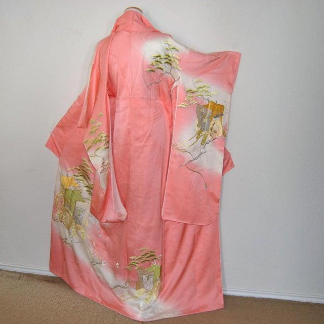 Atsuko-golden beauty, splendor, authentic Japanese silk kimono with golden thread, embroidery of the Imperial Gosho-guruma...