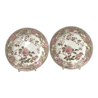 Antique English Cherry Blossom Plates - A Pair For Sale