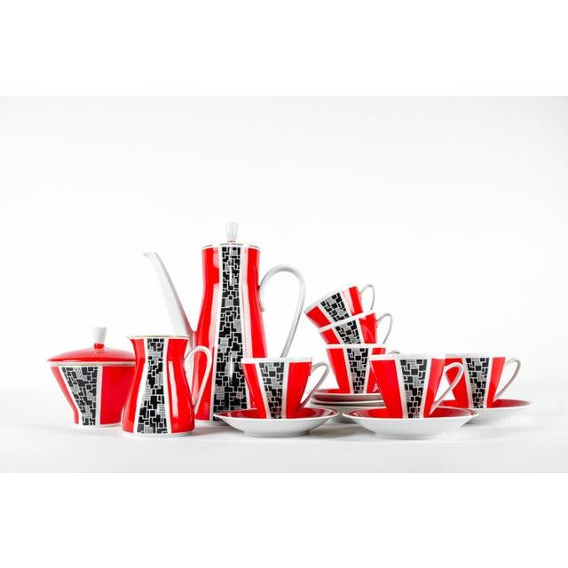 Art Deco Porcelain German Espresso Set - 17 Pieces - Image 7 of 11