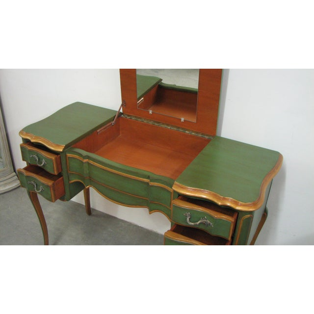 Green Vintage French-Style Green & Gold Painted Writing Desk For Sale - Image 8 of 12