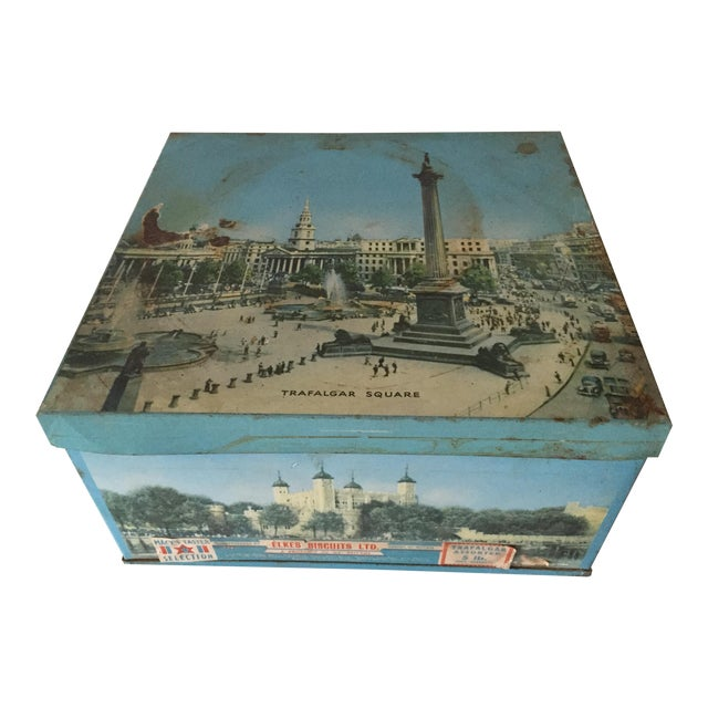 1940's Elkes Ltd. Trafalgar Large Square English Biscuit Tin Box With Lid For Sale