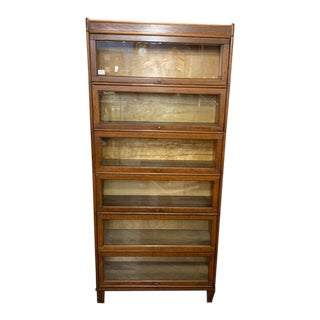 Antique 6 Stack Oak Barrister Bookcase For Sale