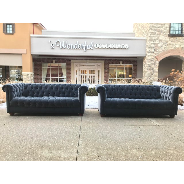 1980s Vintage Designers Guild Velvet Chesterfield Sofas- a Pair For Sale - Image 6 of 6