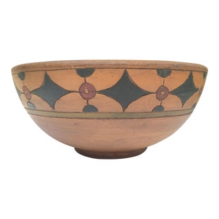 Oversized Mid-Century Terracotta Bowl With Geometric Pattern For Sale