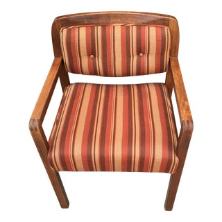 Risom Walnut Arm Chair For Sale
