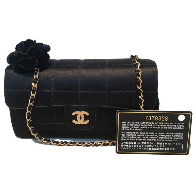 Chanel Quilted Black Silk Mini Camellia Classic Flap Shoulder Bag For Sale In Philadelphia - Image 6 of 12