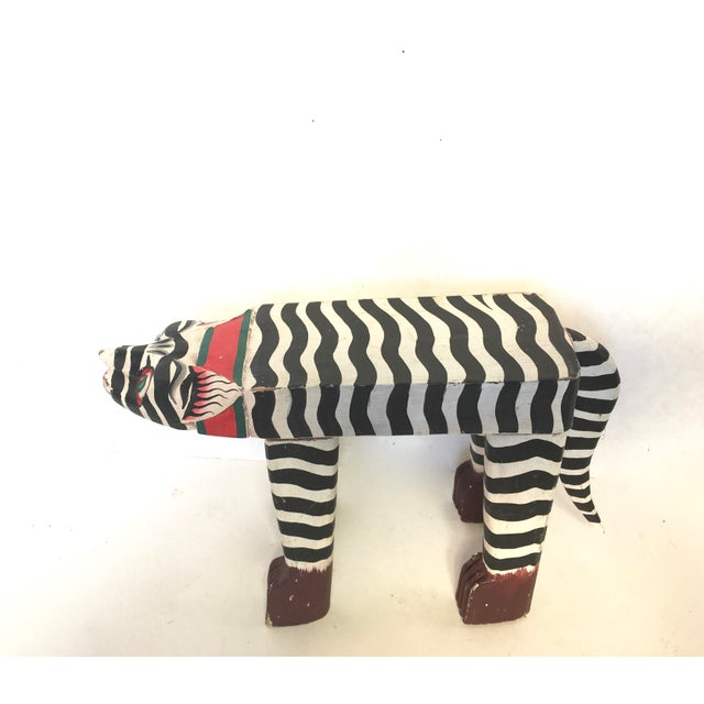 Folk Art Hand-Crafted Zebra Cat Footstool - Image 2 of 5