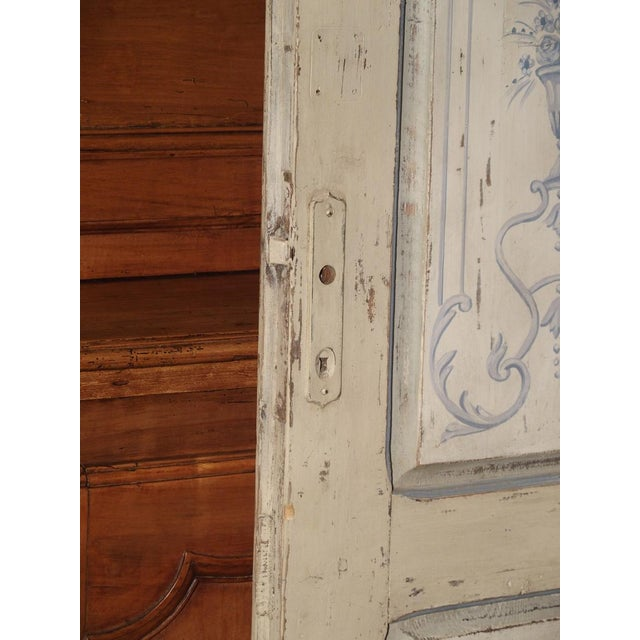 Blue and White Painted Antique Door From Lombardy, Italy Circa 1850 For Sale In Dallas - Image 6 of 13