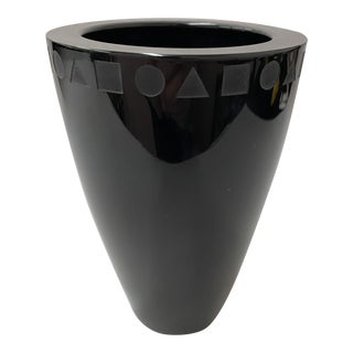 Black Crystal Vase by Ward Bennett for Sasaki For Sale
