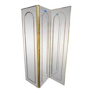 Milo Baughman Style Mirror Room Divider Screen For Sale