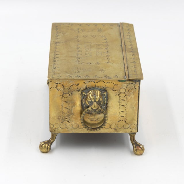 English Dutch Style Brass Table Top Cigarette / Tobacco Boxes, Early 19th Century - a Pair For Sale In San Francisco - Image 6 of 10