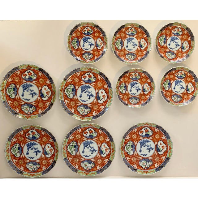 Asian Vintage Imari Takahashi Dishes - Set of 10 For Sale - Image 3 of 10