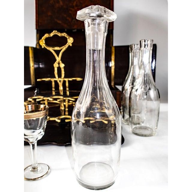 Brass Antique French Tantalus Burlwood Hidden Liquor Cabinet & Glasses - Set of 8 For Sale - Image 7 of 12
