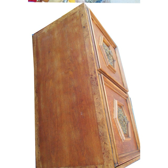Ornate Burled Wood Hollywood Regency Dresser Cabinet By Peppler For Sale - Image 5 of 9