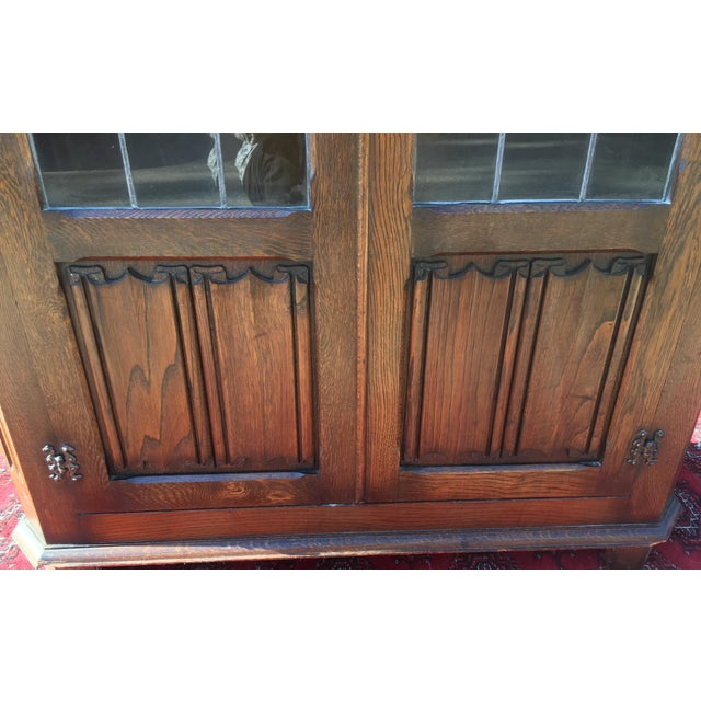 Mid-Century Carved Oak Leaded Glass Bookcase For Sale - Image 10 of 10