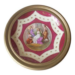 Austrian Framed Decorative Plate For Sale