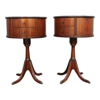 1940's Elegant Flame Mahogany Round Drum Tables - a Pair For Sale
