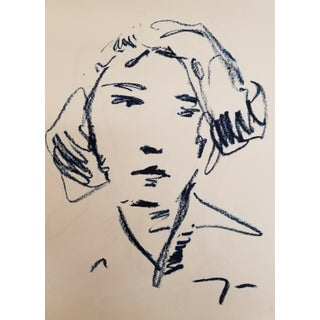 Blue Oil Stick on Paper Minimalist Portrait Drawing For Sale