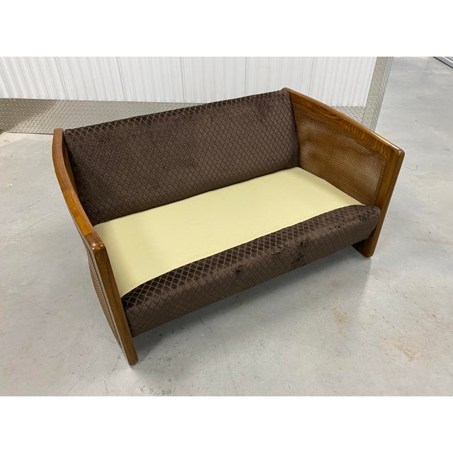 Brown Mid Century Modern Reupholstered Loveseat For Sale - Image 8 of 10